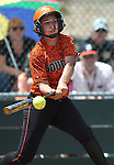 Douglas Tigers' Makayla Shaver hits against the Galena Grizzlies in a first round game of the NIAA northern region softball tournament in Reno, Nev., on Thursday, May 15, 2014. <br /> Photo by Cathleen Allison