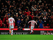 2nd December 2017, bet365 Stadium, Stoke-on-Trent, England; EPL Premier League football, Stoke City versus Swansea City;  Xherdan Shaqiri of Stoke City celebrates with the crowd after scoring the equalising goal in the 35th minute to make it 1-1