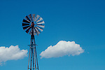 Renewable energy, An Aeromotor, a windmill,  pumping ground water,  Colorado, clouds, western United States, U.S.A.,.