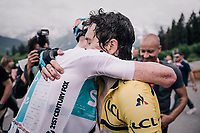 Geraint Thomas (GBR/SKY) congratulated by teammate Tao Geoghegan Hart (GBR/SKY) after wining the Dauphiné<br /> <br /> Stage 7: Moûtiers > Saint-Gervais Mont Blanc (129km)<br /> 70th Critérium du Dauphiné 2018 (2.UWT)