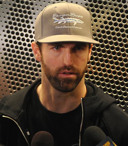 Andrew Ladd speaks with the media after New York Islanders player exit interviews at Northwell Health Ice Center in East Meadow on Sunday, April 8, 2018.