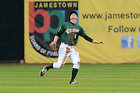 Jamestown Jammers outfielder Austin Meadows (9) tracks a fly ball during a game against the State College Spikes on September 3, 2013 at Russell Diethrick Park in Jamestown, New York.  State College defeated Jamestown 3-1.  (Mike Janes/Four Seam Images)