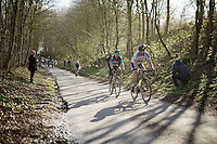 World Champion Peter Sagan (SVK/Tinkoff) &amp; former one Michal Kwiatkowski (POL/SKY) escape from a leading peloton in the Karnemelkbeekstraat and start their rainbow breakaway that will hold until the finish<br /> <br /> E3 - Harelbeke 2016