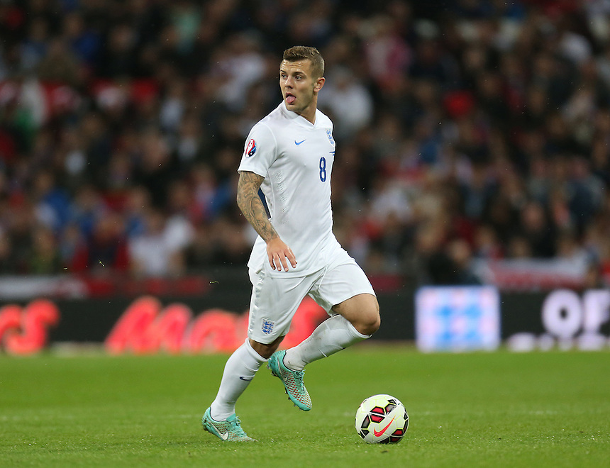 England's Jack Wilshire  in action during todays match  <br /> Photographer Kieran Galvin/CameraSport<br /> <br /> International Football - UEFA EURO 2016 - European Qualifiers Group E - England v San Marino - Thursday 9th October 2014 - Wembley Stadium - London <br /> <br /> &copy; CameraSport - 43 Linden Ave. Countesthorpe. Leicester. England. LE8 5PG - Tel: +44 (0) 116 277 4147 - admin@camerasport.com - www.camerasport.com