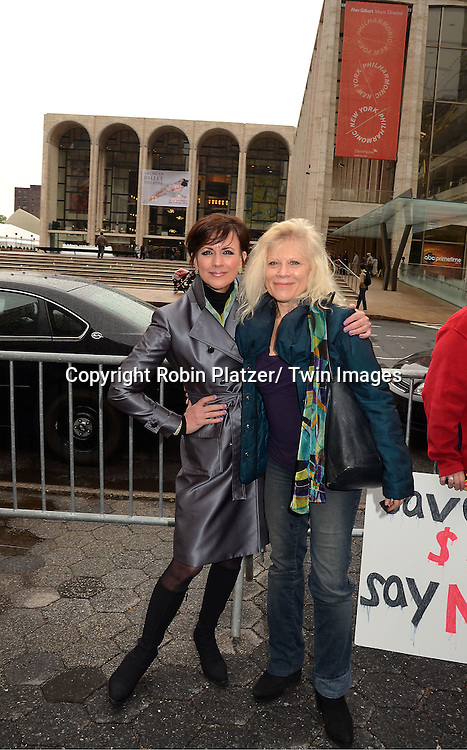 """actresses Colleen Zenk and Ilene Kristen protesting the cancelation of ABC's """"All My Children"""" and """"One Life to Live"""" outside Lincoln Center where ABC was presenting it's Upfront of the 2011-2012 Fall Season  on May 17, 2011 in New York City. The protesters were trying to get the advertisers not to adverise on ABC."""