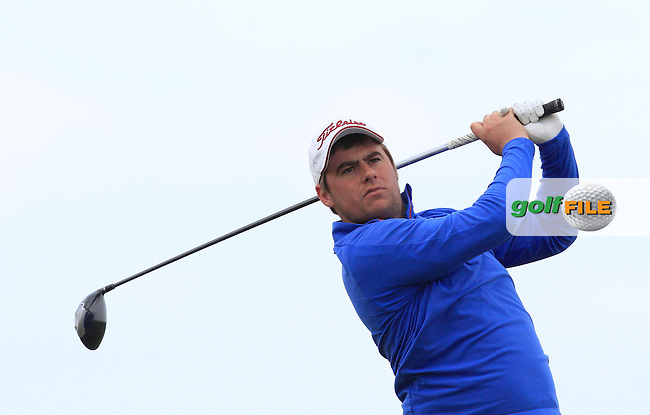 Gary Collins (Rosslare) on the 14th tee during Round 3 of the Irish Amateur Open Championship at Royal Dublin on Saturday 9th May 2015.<br /> Picture:  Thos Caffrey / www.golffile.ie