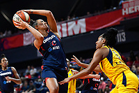 Washington, DC - Aug 8, 2019: Washington Mystics guard Natasha Cloud (9) shoots an acrobatic shot over Indiana Fever guard Kelsey Mitchell (0) during 2nd half action of game between the Indiana Fever and the Washington Mystics. The Mystics defeat the Fever 91-78 at the Entertainment & Sports Arena in Washington, DC. (Photo by Phil Peters/Media Images International)
