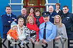 FAREWELL: Garda Michael Fitzgerald on his retirement from Listowel Garda Station, pictured front l/r Amy and Ronan Brick, Marian Fitzgerald, Michael Fitzgerald, Laura Fitzgerald. Back l/r Dave Murphy, Margaret and Michael Marshall Yvonne Fox-O'Keeffe, Declan Horan, Breda Holly and Jonathan Cahill. Michael has spend 30 years in the force working in Kevin Street Dublin, Killarney Garda Station and finished his term in Listowel..