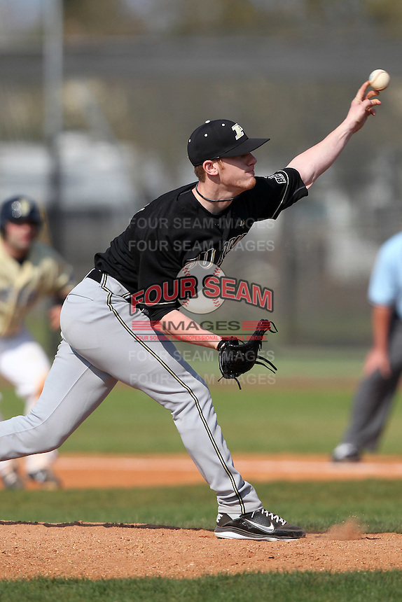 Pat Gannon #7 of the Purdue Boilermakers during a game vs the Pittsburgh Panthers at the Big East-Big Ten Challenge at Walter Fuller Complex in St. Petersburg, Florida;  February 20, 2011.  Purdue defeated Pitt 5-3.  Photo By Mike Janes/Four Seam Images