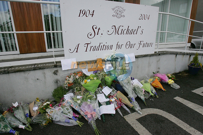 A memorial to one of the children killed in Mondays Bus Accident in Kentstown Co Meath, laid at the Loretto School in Navan.Photo NEWSFILE/FRAN CAFFREY..(Photo credit should read FRAN CAFFREY/NEWSFILE)...This Picture has been sent you under the condtions enclosed by:.Newsfile Ltd..the Studio,.Millmount Abbey,.Drogheda,.Co Meath..Ireland..Tel: +353(0)41-9871240.Fax: +353(0)41-9871260.GSM: +353(0)86-2500958.email: pictures@newsfile.ie.www.newsfile.ie.FTP: 193.120.102.198..This picture is from Fran Caffrey@newsfile.ie