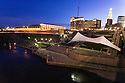Hartford, Connecticut's riverfront features Adrien's Landing, an outdoor venue for civic and cultural concerts and festivals, and the new CT Convention Center, which hosts numerous events, large and small.