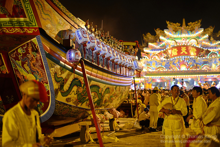 Donggang, Taiwan -- King Boat burning at Donglong Temple. Donggang, Taiwan -- The King Boat is readied at Donglong Temple for its final voyage through the streets of this sleepy fishing town.