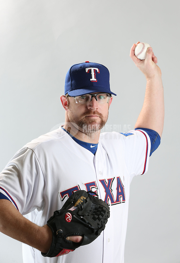 Feb. 20, 2013; Surprise, AZ, USA: Texas Rangers pitcher Nate Robertson poses for a portrait during photo day at Surprise Stadium. Mandatory Credit: Mark J. Rebilas-