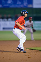 Michael Suiter (29) of the Kannapolis Intimidators takes his lead off of second base against the Hickory Crawdads at CMC-Northeast Stadium on April 17, 2015 in Kannapolis, North Carolina.  The Crawdads defeated the Intimidators 5-1 in game two of a double-header.  (Brian Westerholt/Four Seam Images)