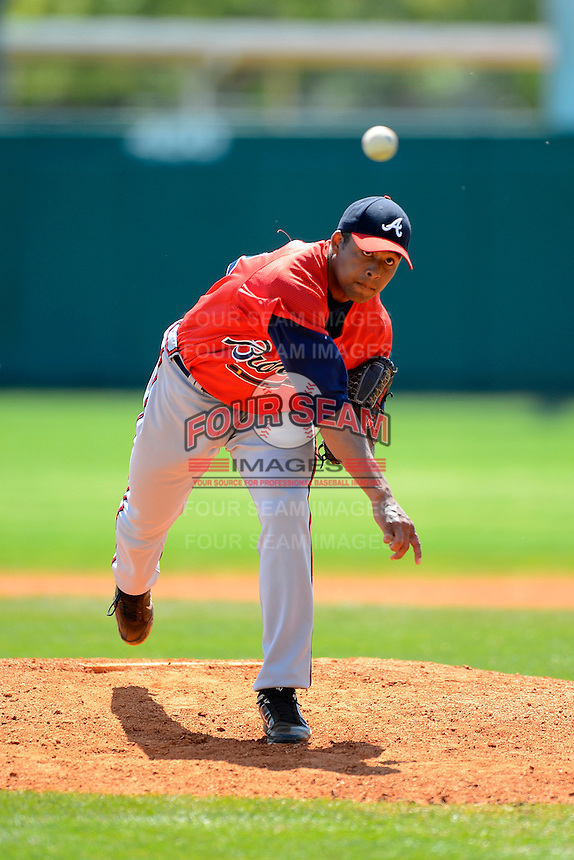Atlanta Braves pitcher Navery Moore #32 during a minor league Spring Training game against the Philadelphia Phillies at Al Lang Field on March 14, 2013 in St. Petersburg, Florida.  (Mike Janes/Four Seam Images)