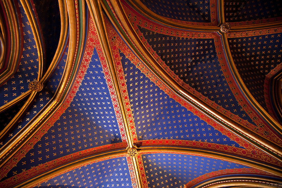 The ceiling of the Lower Chapel of Saint-Chapelle (holy chapel), Paris, France.<br /> <br /> The Sainte-Chapelle, the palatine chapel in the courtyard of the royal palace on the &Icirc;le de la Cit&eacute;, was built to house precious relics: Christ's crown of thorns, the Image of Edessa and thirty other relics of Christ that had been in the possession of Louis IX since August 1239, when it arrived from Venice in the hands of two Dominican friars. Unlike many devout aristocrats who stole relics, the saintly Louis bought his precious relics of the Passion, purchased from the Latin emperor at Constantinople, Baldwin II, for the exorbitant sum of 135,000 livres, which was paid to the Venetians, to whom it had been pawned.