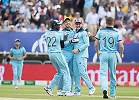 Jos Buttler (England) and team celebrate his run out of Steve Smith during Australia vs England, ICC World Cup Semi-Final Cricket at Edgbaston Stadium on 11th July 2019