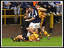 24/8/02         Copyright Pic : James Stewart                     .File Name : stewart-alloa v falkirk 29.FALKIRK'S ANDY LAWRIE IS FOULED BY BILLY MCDONALD AND ANDY SEATON.......James Stewart Photo Agency, 19 Carronlea Drive, Falkirk. FK2 8DN      Vat Reg No. 607 6932 25.Office : +44 (0)1324 570906     .Mobile : + 44 (0)7721 416997.Fax     :  +44 (0)1324 570906.E-mail : jim@jspa.co.uk.If you require further information then contact Jim Stewart on any of the numbers above.........
