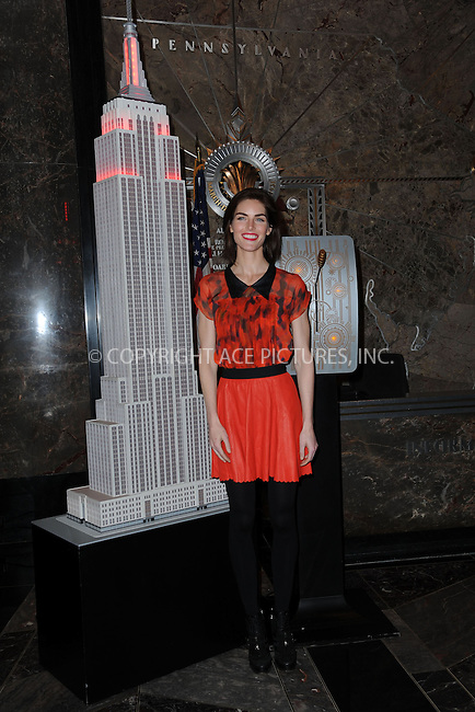 WWW.ACEPIXS.COM . . . . . <br /> February 6, 2014...New York City<br /> <br /> Model Hilary Rhoda visits the Empire State Building which will be lit red in honor of American Heart Month and National Wear Red Day at The Empire State Building on February 6, 2014 in New York City.<br /> <br /> Please byline: Kristin Callahan...ACEPIXS.COM<br /> Tel: (212) 243 8787 or (646) 769 0430<br /> e-mail: info@acepixs.com<br /> web: http://www.acepixs.com
