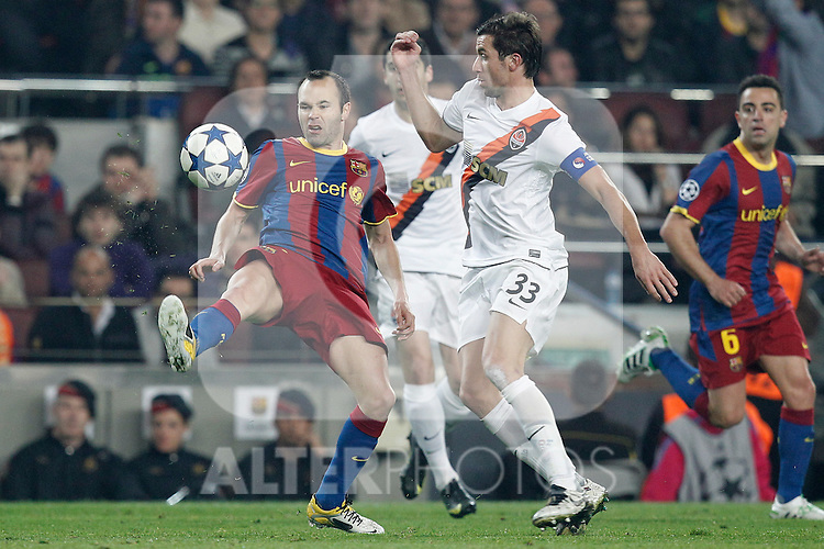 Barcelona's Andres Iniesta and Shaktar Donetsk's Darijo Srna during Champions League match on April, 6th 2011...Photo: Cesar Cebolla / ALFAQUI