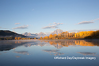 67545-09309 Sunrise at Oxbow Bend in fall; Grand Teton National Park; WY