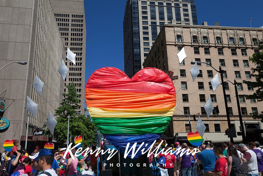 Rainbow colored heart, Seattle Pride Parade 2016, Washington, USA.