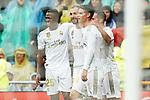 Real Madrid's James Rodriguez, Vinicius Junior, Lucas Vazquez and Karim Benzema celebrate goal during La Liga match. September 14,2019. (ALTERPHOTOS/Acero)