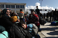 Pictured: Refugees outside the Helliniko camp Friday 26 February 2016<br /> Re: Refugees have been turning up at the Helliniko refugee camp in the outskirts of Athens, Greece.