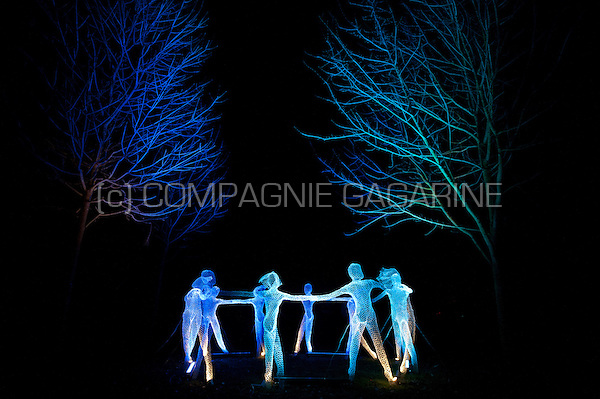 """The """"Il Etait Une Fois"""" installation from Cedric Verdure inside the Jardins du Beffroi in Mons, during the opening night of Mons 2015, European Capital Of Culture (Belgium, 25/01/2015)"""