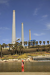 Israel, Sharon region. Orot Rabin power plant by Hadera river