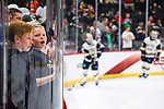 ST PAUL, MN - APRIL 7: A fans watches team warmups prior to the Division I Men's Ice Hockey Championship held at the Xcel Energy Center on April 7, 2018 in St Paul, Minnesota. (Photo by Tim Nwachukwu/NCAA Photos via Getty Images)