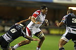 Ulster number 8 Nick Williams takes on Blues pair Robin Copeland and Taufa'ao Filise..RaboDirect Pro12.Cardiff Blues v Ulster Rugby.Cardiff Arms Park.28.09.12.©Steve Pope