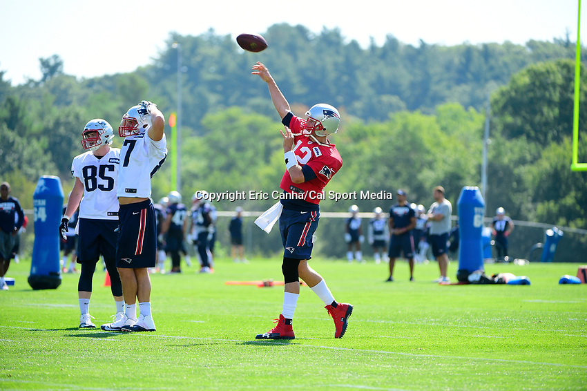 July 28, 2017: New England Patriots quarterback Tom Brady (12) throws a pass at the New England Patriots training camp held at Gillette Stadium, in Foxborough, Massachusetts. Eric Canha/CSM