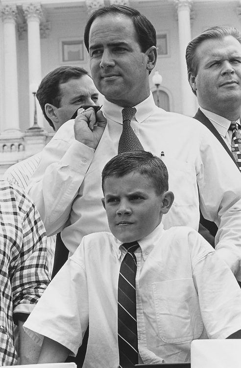 Rep. Zach Wamp, R-Tenn., and son Weston (age 9) in 1996. (Photo by Laura Patterson/CQ Roll Call via Getty Images)