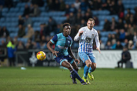 Anthony Stewart of Wycombe Wanderers turns Stuart Beavon of Coventry City during the The Checkatrade Trophy - EFL Trophy Semi Final match between Coventry City and Wycombe Wanderers at the Ricoh Arena, Coventry, England on 7 February 2017. Photo by Andy Rowland.