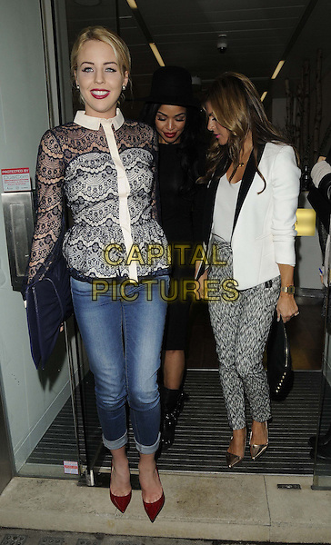 Lydia Rose Bright, Sarah-Jane Crawford & Zoe Hardman.attended the Casio Tokyo Trio Watch launch party, The Study, Blandford St., London, England..January 28th, 2013.full length black white collar lace blouse top see through thru jeans denim rolled turned up red shoes blue clutch bag blazer pattern trousers profile hat.CAP/CAN.©Can Nguyen/Capital Pictures.