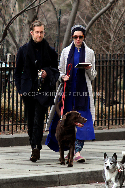 WWW.ACEPIXS.COM....Janaury 9 2013, New York City....Actress Anne Hathaway and her husband Adam Shulman take their dog for a walk in a Brooklyn park on January 9 2013 in New York City......By Line: Zelig Shaul/ACE Pictures......ACE Pictures, Inc...tel: 646 769 0430..Email: info@acepixs.com..www.acepixs.com