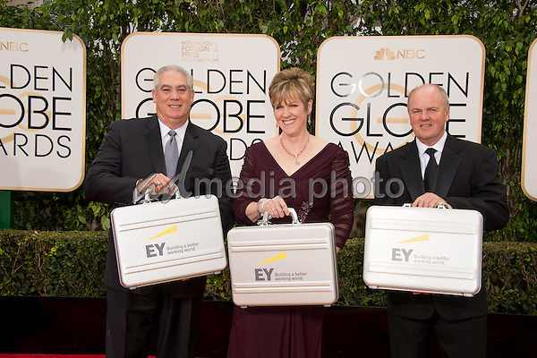 Ernst & Young arrive with the sealed results at the 73rd Annual Golden Globe Awards at the Beverly Hilton in Beverly Hills, CA on Sunday, January 10, 2016. Photo Credit: HFPA/AdMedia