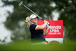 CHON BURI, THAILAND - FEBRUARY 16:  Caroline Hedwall of Sweden tees off on the 12th hole during day one of the LPGA Thailand at Siam Country Club on February 16, 2012 in Chon Buri, Thailand.  Photo by Victor Fraile / The Power of Sport Images