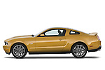 Driver side profile view of a 2010 Ford Mustang Coupe GT Premium.