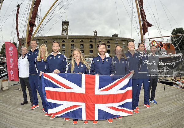(l to r) Mark England (TeamGB Rio Chef de Mission), Giles Scott (Finn), Saskia Clark (470 Women), Elliot Willis (470 Men), Hannah Mills (470 women), Luke Patience (470 men), Bryony Shaw (RS:X women), Nick Thompson (Laser), Alison Young (Laser radial women) and Stephen Park OBE (TeamGB sailing team leader). First TeamGB athletes selected for Rio2016. Sailing. St Katherines Dock. London. England. UK. 09/09/2015. MANDATORY Credit Garry Bowden/SIPPA - NO UNAUTHORISED USE - 07837 394578