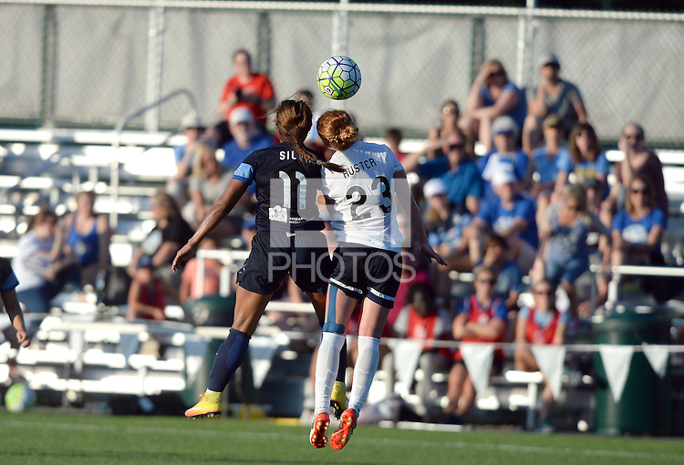 Kansas City, MO - Saturday July 16, 2016: Frances Silva, Victoria Huster during a regular season National Women's Soccer League (NWSL) match between FC Kansas City and the Washington Spirit at Swope Soccer Village.
