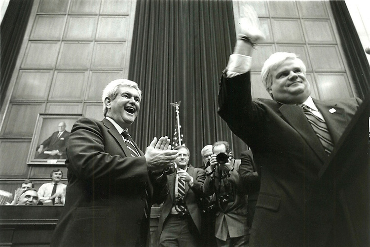 "UNITED STATES - APRIL 4: Chris Farley, of Saturday Night Live, impersonates Speaker of the House Newt Gingrich, left, who looks on. This appearance was an ""April Fools"" joke orchestrated by the GOP Conference on April 4, 1995. (Maureen Keating/CQ Roll Call)"
