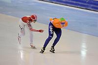 SCHAATSEN: HEERENVEEN: IJsstadion Thialf, 12-01-2013, Seizoen 2012-2013, Essent ISU EK allround, 3000m Ladies, Olga Graf (RUS), Antoinette de Jong (NED), ©foto Martin de Jong