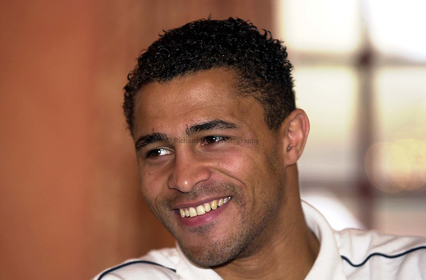 Photo. Richard Lane. .England Team Announcement at Pennyhill Hotel, Bagshot. 26-2-2002.Jason Robinson