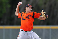 Baltimore Orioles pitcher Jason McCracken #53 during an Instructional League game against the Boston Red Sox at Buck O'Neil Complex on October 6, 2011 in Sarasota, Florida.  (Mike Janes/Four Seam Images)