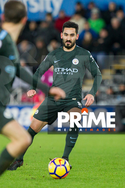 Ilkay Gundogan of Manchester City during the EPL - Premier League match between Swansea City and Manchester City at the Liberty Stadium, Swansea, Wales on 13 December 2017. Photo by Mark  Hawkins / PRiME Media Images.