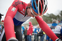 Dutch National U23 Champion David Van Der Poel (NLD) had to dig deep during this race<br /> <br /> UCI Worldcup Heusden-Zolder Limburg 2013