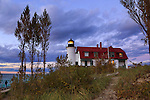 The historic Point Betsie Lighthouse just after sunset along Lake Michigan and Just to the south of The Sleeping Bear Dunes, Michigan's Lower Peninsula, USA