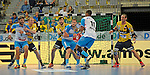 GER - Mannheim, Germany, September 23: During the DKB Handball Bundesliga match between Rhein-Neckar Loewen (yellow) and TVB 1898 Stuttgart (white) on September 23, 2015 at SAP Arena in Mannheim, Germany. Final score 31-20 (19-8) .  (l-r) Michael Schweikardt #8 of TVB 1898 Stuttgart, Stefan Kneer #4 of Rhein-Neckar Loewen, Gedeon Guardiola Villaplana #30 of Rhein-Neckar Loewen, Sebastian Arnold #16 of TVB 1898 Stuttgart, Djibril MBengue #11 of TVB 1898 Stuttgart, Kim Ekdahl du Rietz #60 of Rhein-Neckar Loewen<br /> <br /> Foto &copy; PIX-Sportfotos *** Foto ist honorarpflichtig! *** Auf Anfrage in hoeherer Qualitaet/Aufloesung. Belegexemplar erbeten. Veroeffentlichung ausschliesslich fuer journalistisch-publizistische Zwecke. For editorial use only.